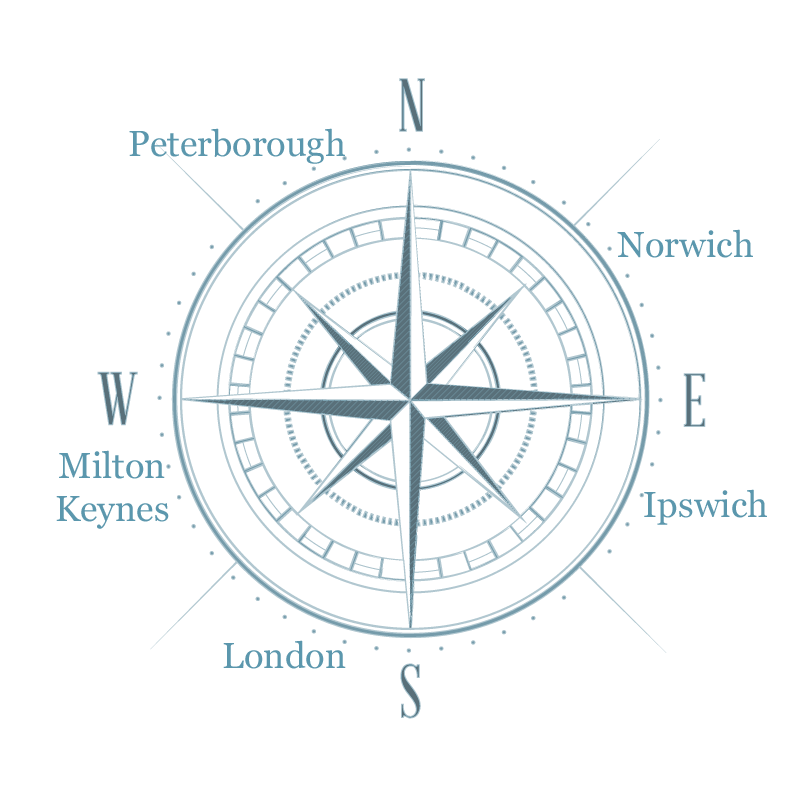 Light blue compass rose with cities named on the dial